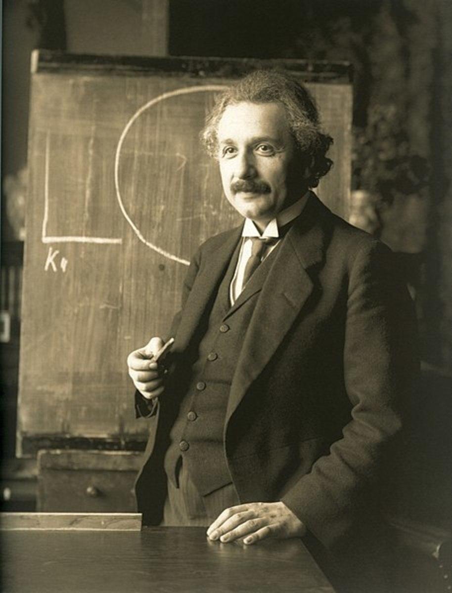 Albert Einstein during a lecture in Vienna in 1921