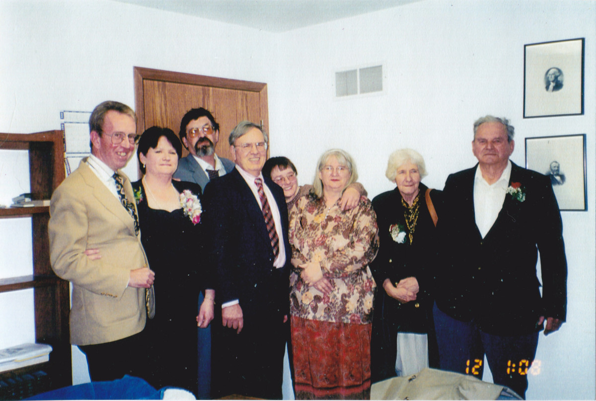 Pictured from left to right:  John Ackley, Connie Ackley Kuehn, Philip, the author, Patty, Beatrice, mom, and dad