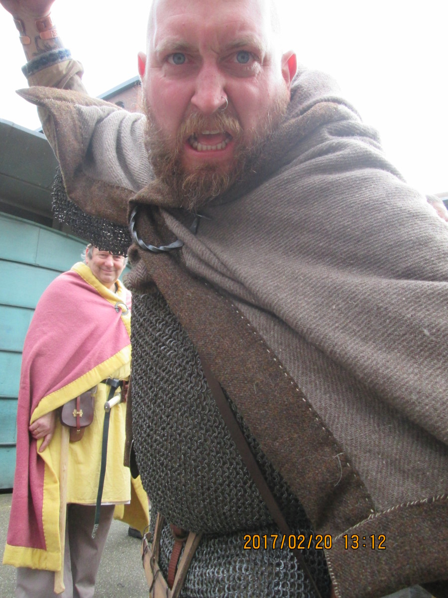 This is Huscarl - household warrior of a jarl or king - at Coppergate Square, York, just outside the newly re-opened Jorvik Viking Centre during the Jorvik Viking Festival in February, 2017
