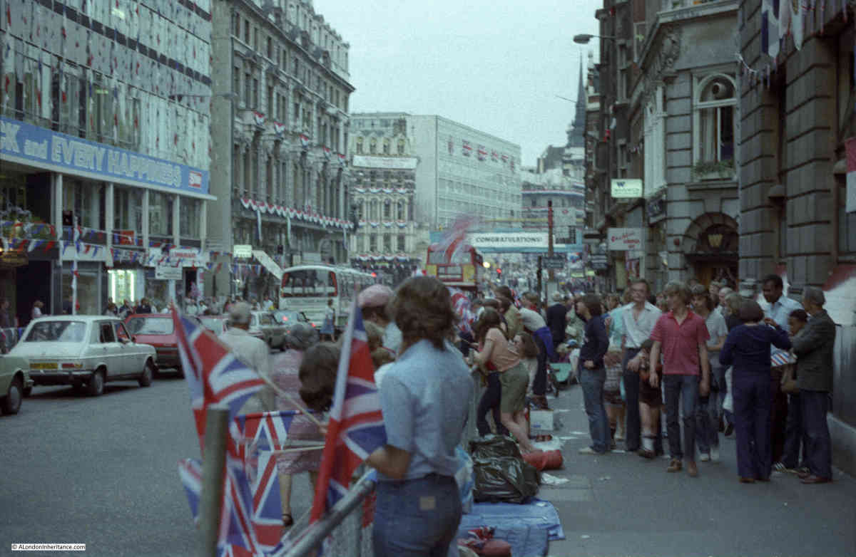 Fleet Street, July 1981, final preparations for the royal wedding of Prince Charles to Lady Diana Spencer being made. My own wedding reception was nearby at Paternoster Square in August  The Telegraph was across the street behind the photographer.