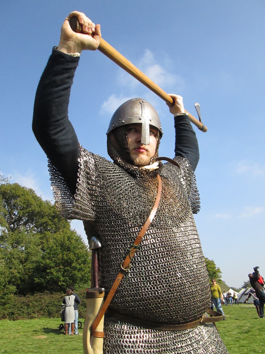 One of the Hildsvin (Battle Boar) group of re-enactors in mailcoat and helm with Dane Axe - the Normans were terrified of Harold's huscarls armed with these weapons