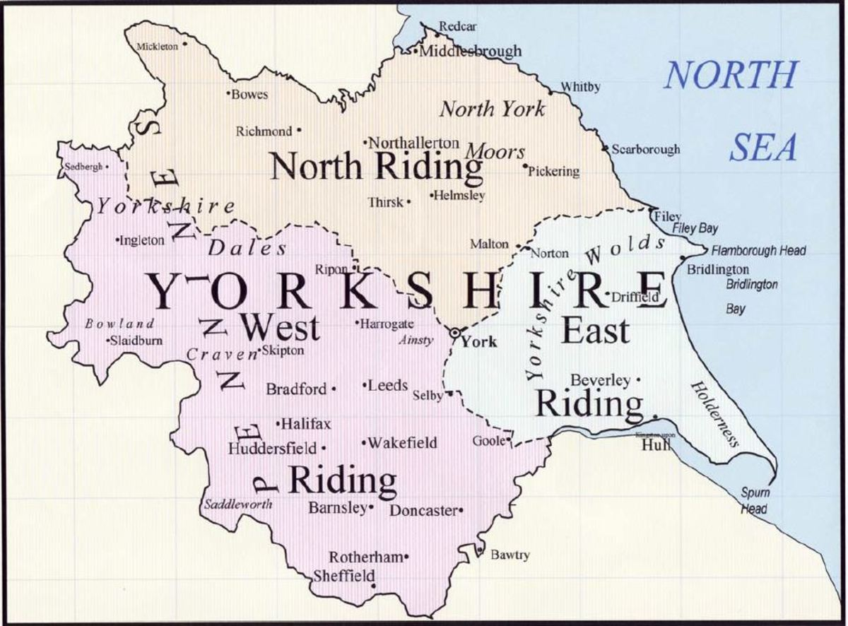 The Yorkshire Ridings, based on the 'Thrijungar', the three areas of local authority established in the 9th Century by Halvdan Ragnarsson