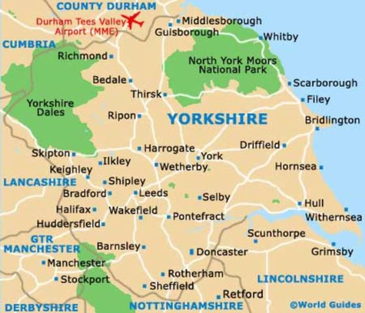 Yorkshire as it is. The Ridings went in 1974 in local government boundary reshuffles, to be redrawn after outcry and partly reconstituted. The East and West Ridings lost land to North Yorkshire - which lost land to County Durham