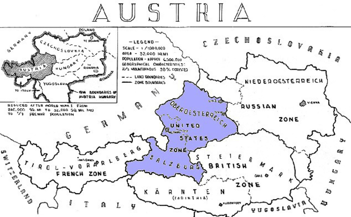 Military occupation zones in a newly recreated Austria after it ceased to exist in 1938 during Anschluss. The blue area is Salzburg and Upper Austria in the US Zone, south of that the British Zone, Carinthia and western Styria.(Klagenfurt and Graz).