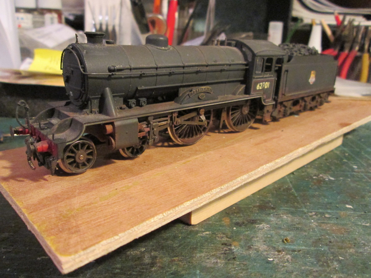 A project I've spent a few days on - off and on - is a renaming and renumbering of a locomotive, ex-LNER Class D49/1 62701 'Derbyshire' in British Railways' 1948-56 livery.