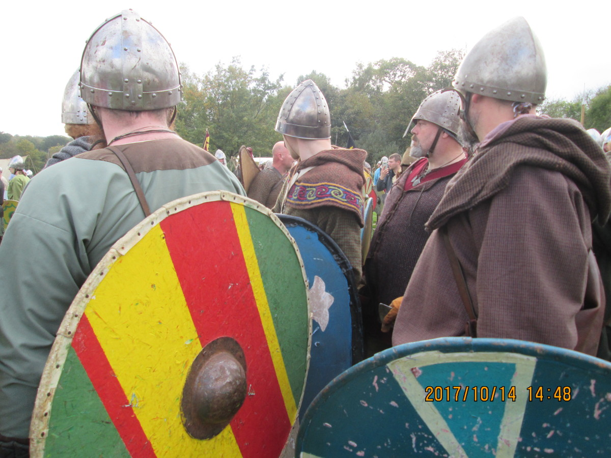 No, it's not the bus queue at Marble Arch. It's re-enactment at Battle Abbey near Hastings. Many turn to this after retiring... Many more turn to it with mothers even before school leaving, dressing up for the part.
