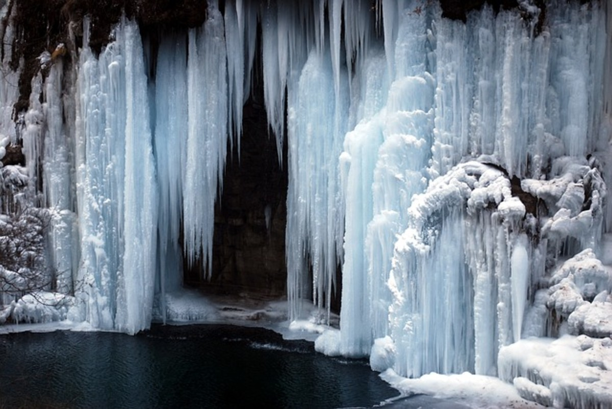 Emotions that should be free flowing are frozen like this waterfall.
