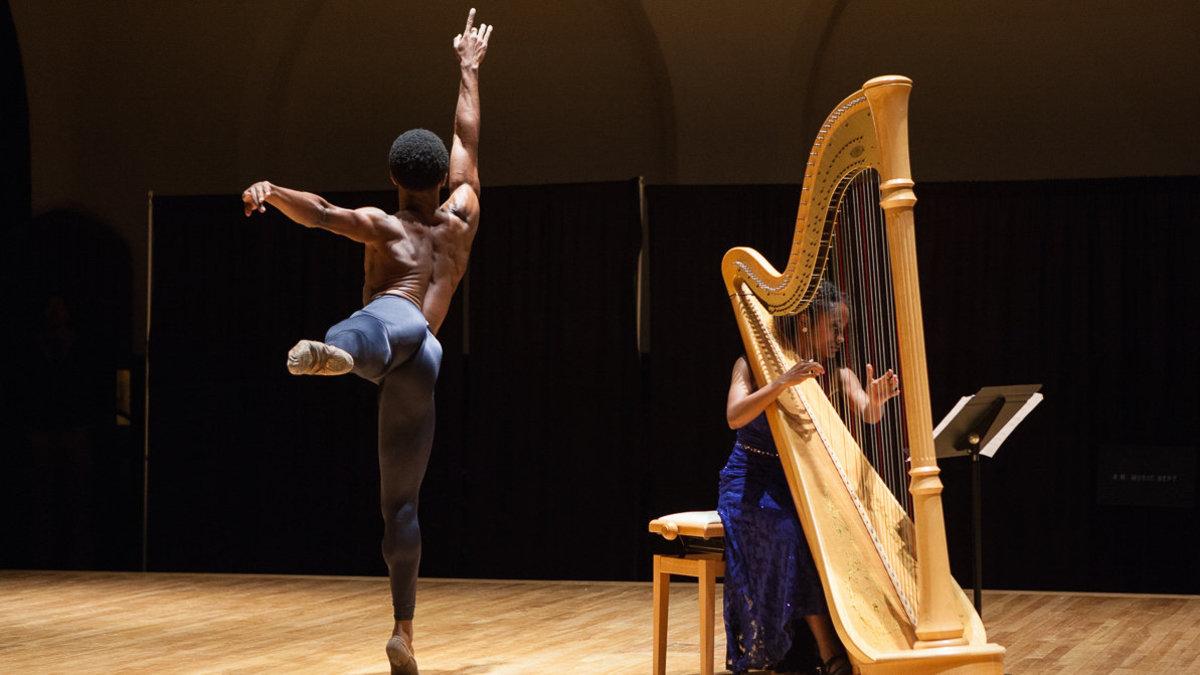 Harpist Angelica Hairston with ballet dancer Michael Morris Jr.