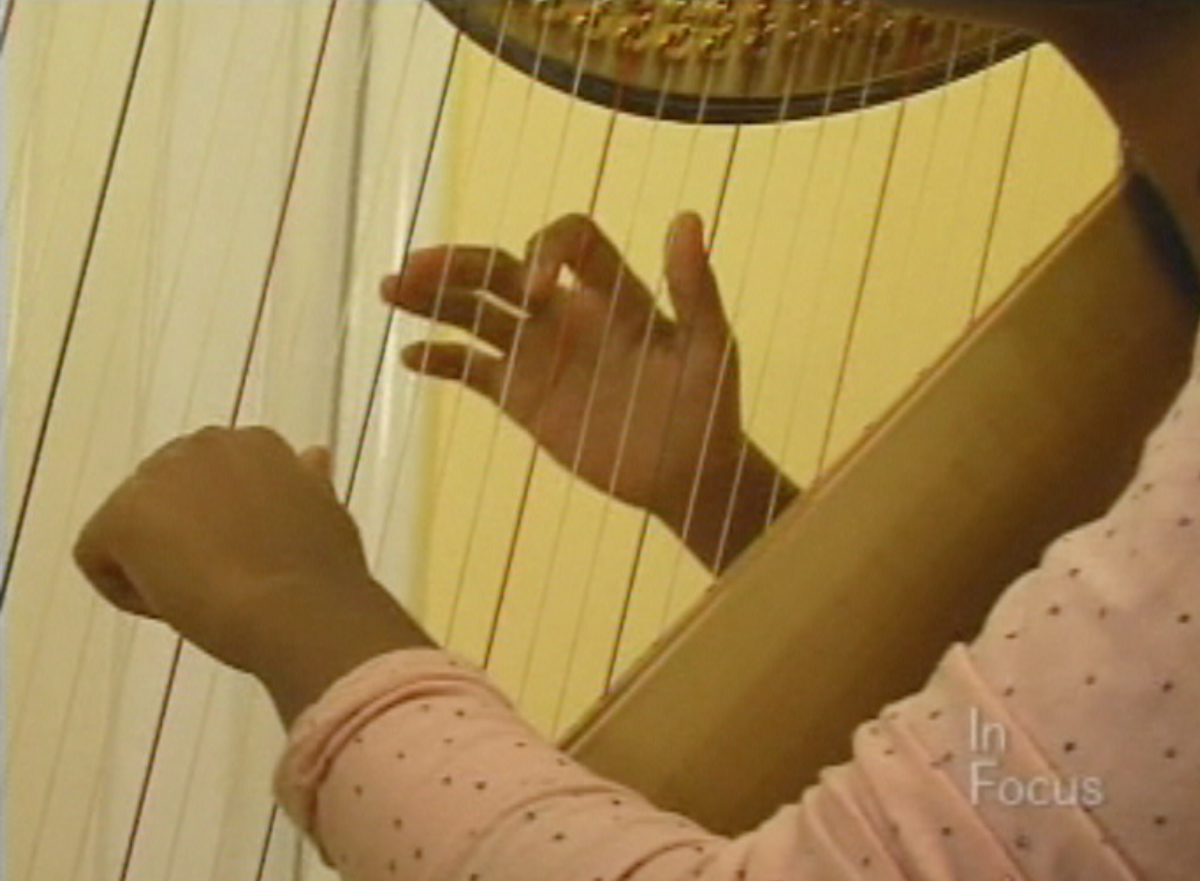 The gentle, peaceful sounds of the harp permeated our home.