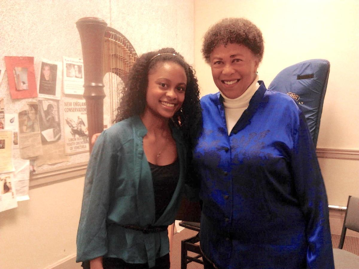 Angelica poses with her idol, Harpist Extraodinaire Ann Hobson Pilot, retired from the Boston Symphony Orchestra.