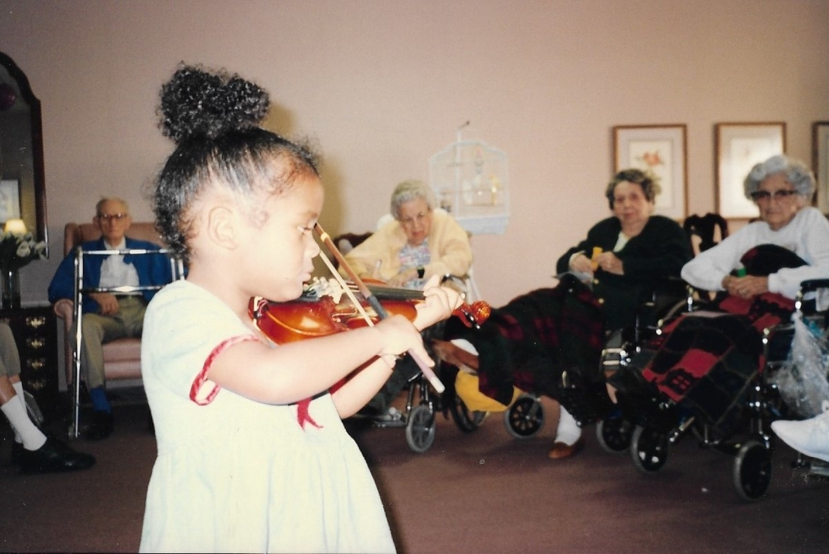 Angelica bringing musical cheer to the nearby senior citizens center.