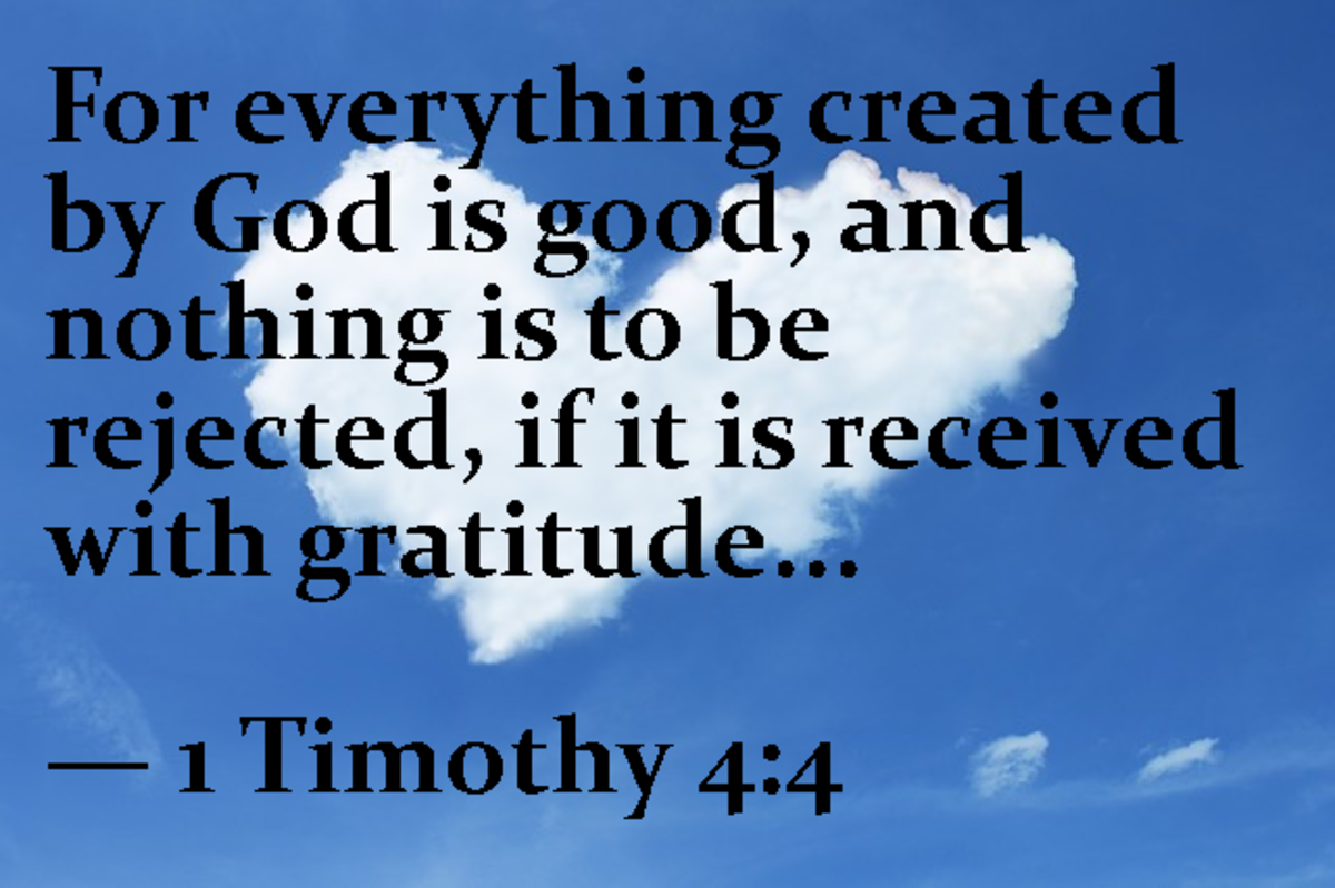 For everything created by God is good, and nothing is to be rejected, if it is received with gratitude. -- 1 Timothy 4:4