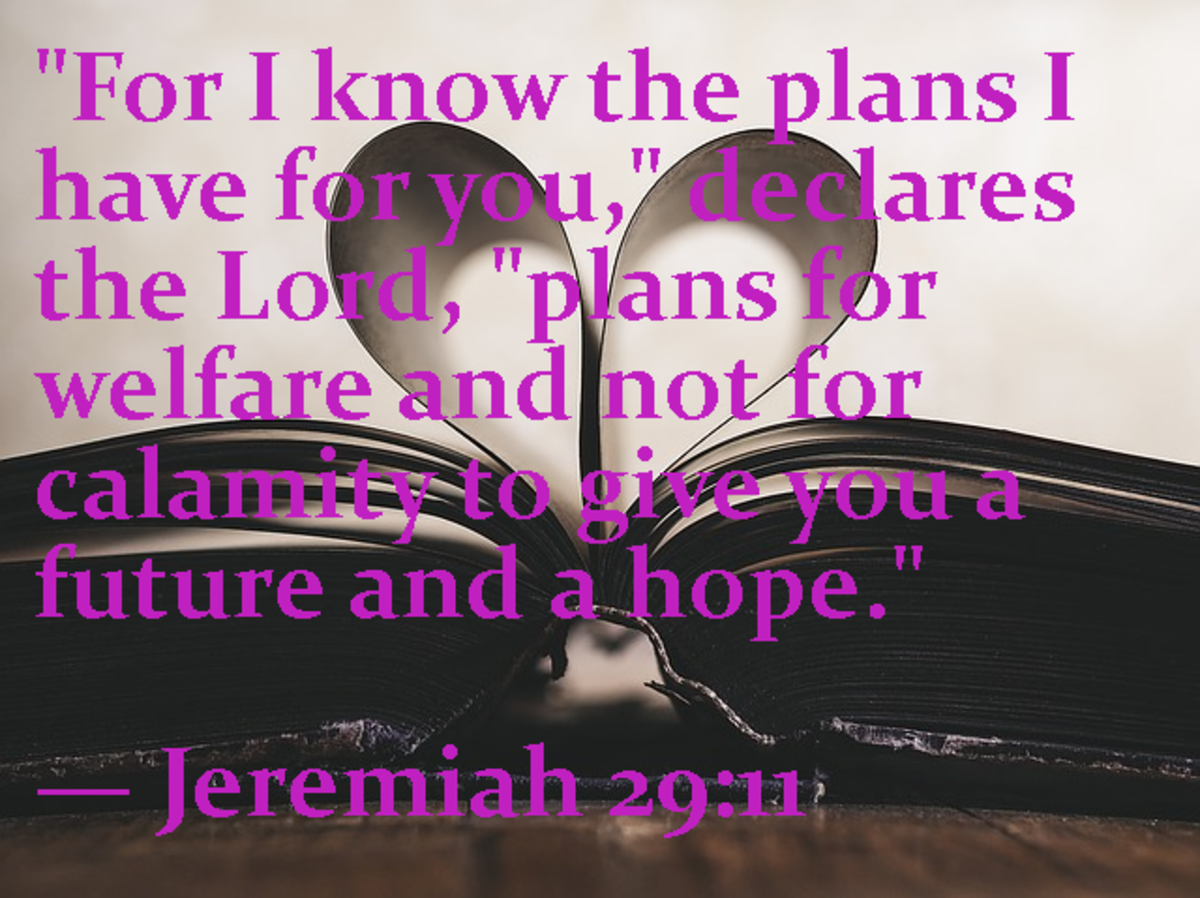 """For I know the plans I have for you,"" declares the Lord, ""plans for welfare and not for calamity; to give you a future and a hope.""  Jeremiah 29:11"