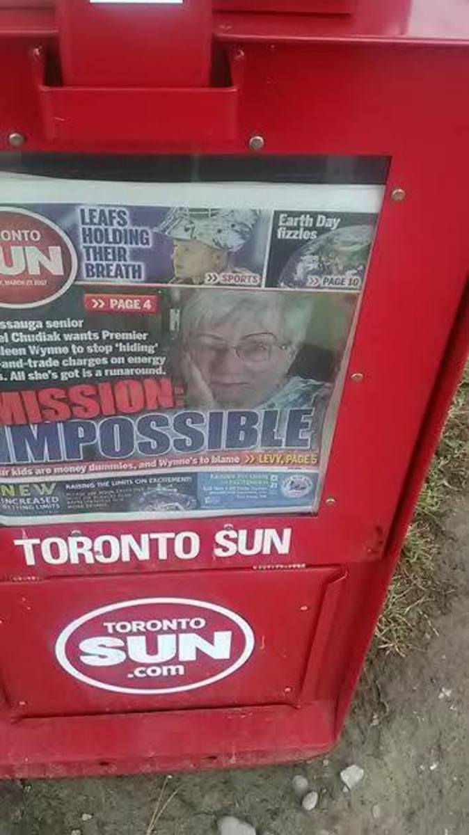 A photograph of the Toronto Sun newspaper in Toronto, Ontario, Canada
