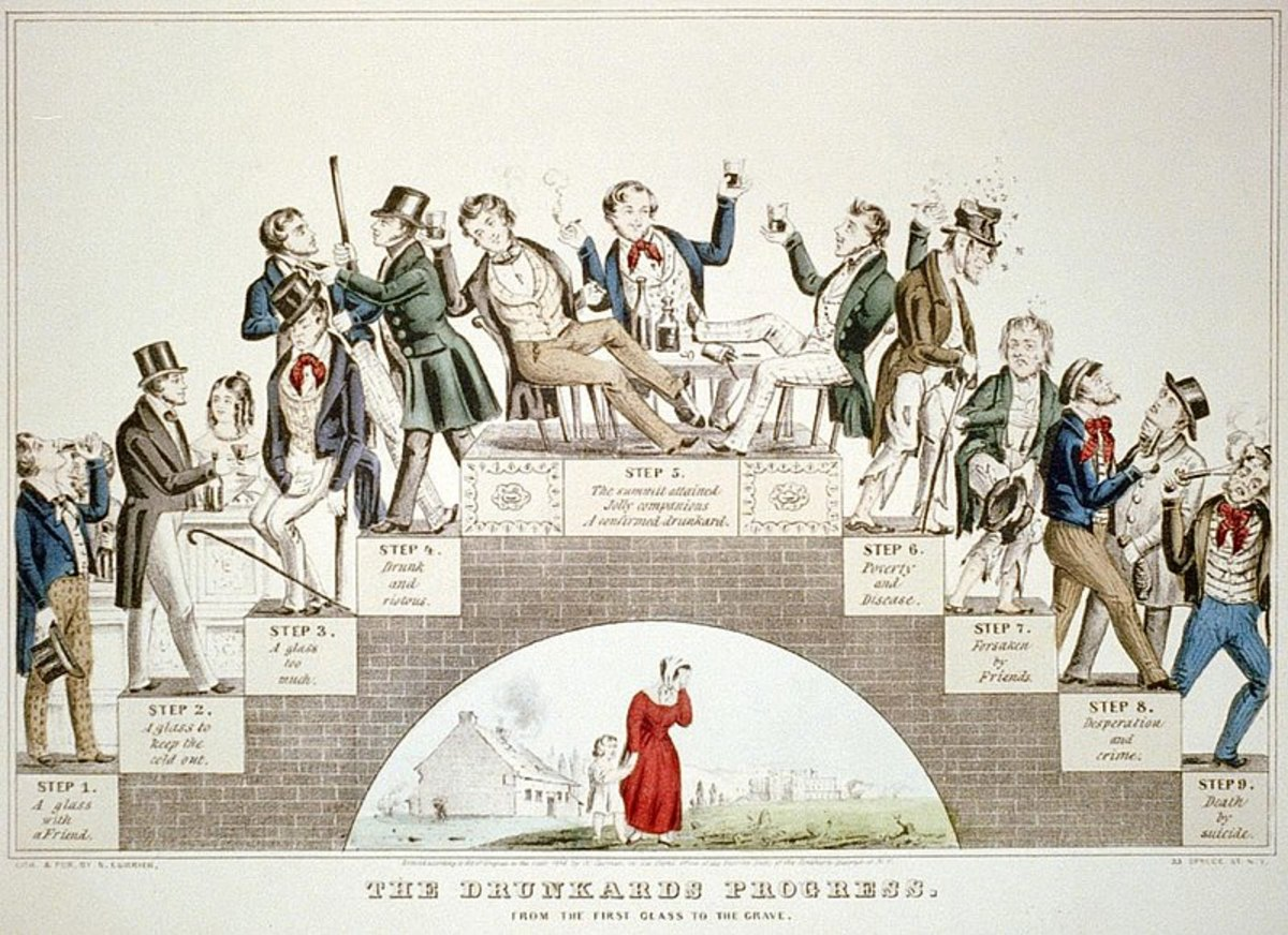 The Drunkard's Progress  A lithograph by Nathaniel Currier supporting the temperance movement  January 1846.