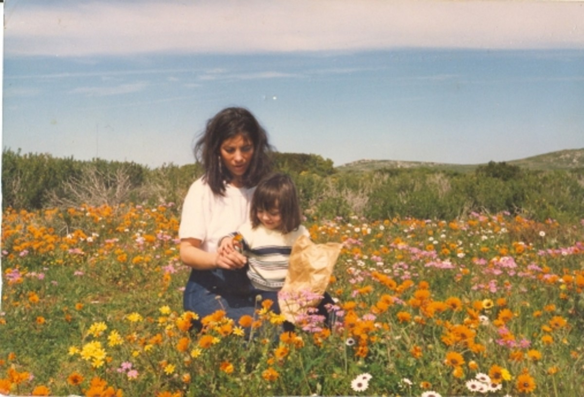 My daughter and I shortly after my divorce.This was taken in spring in Namaqualand about a year after my late father's passing.