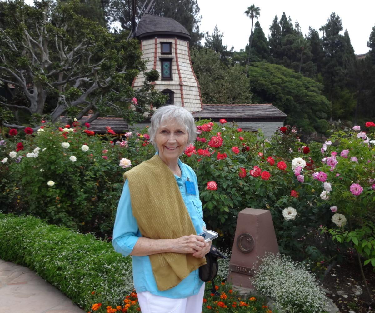Linda Sue Grimes at the Wind Mill Chapel, SRF Lake Shrine