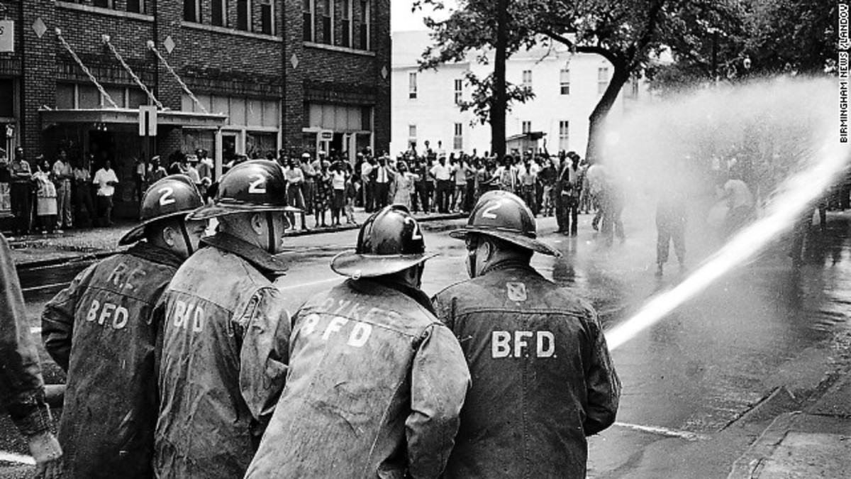 Birmingham, Ala. Fire Departments use fire hoses to thwart Civil Rights March.