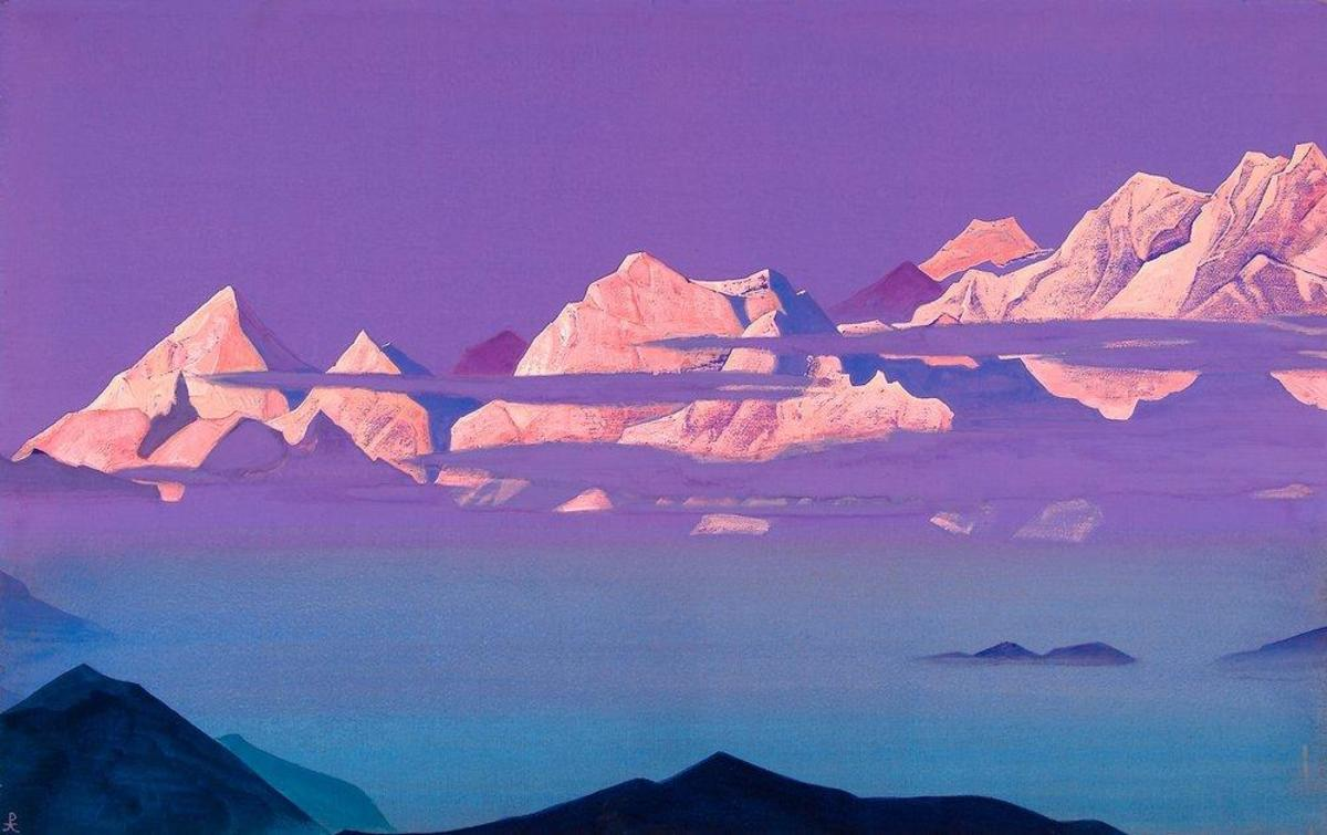 Himalayas. Pink Mountains by Nicholas Roerich. Nicholas Roerich Museum New York.