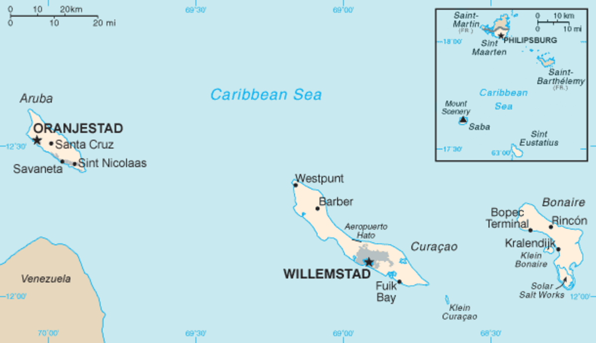 Located at the Southern part of the Caribbean Sea between the islands of Aruba and Bonaire, just 35 miles north of Venezuela. Willemstad is the capital. Photo Credit: Netherlands Antilles-CIA WFB Map