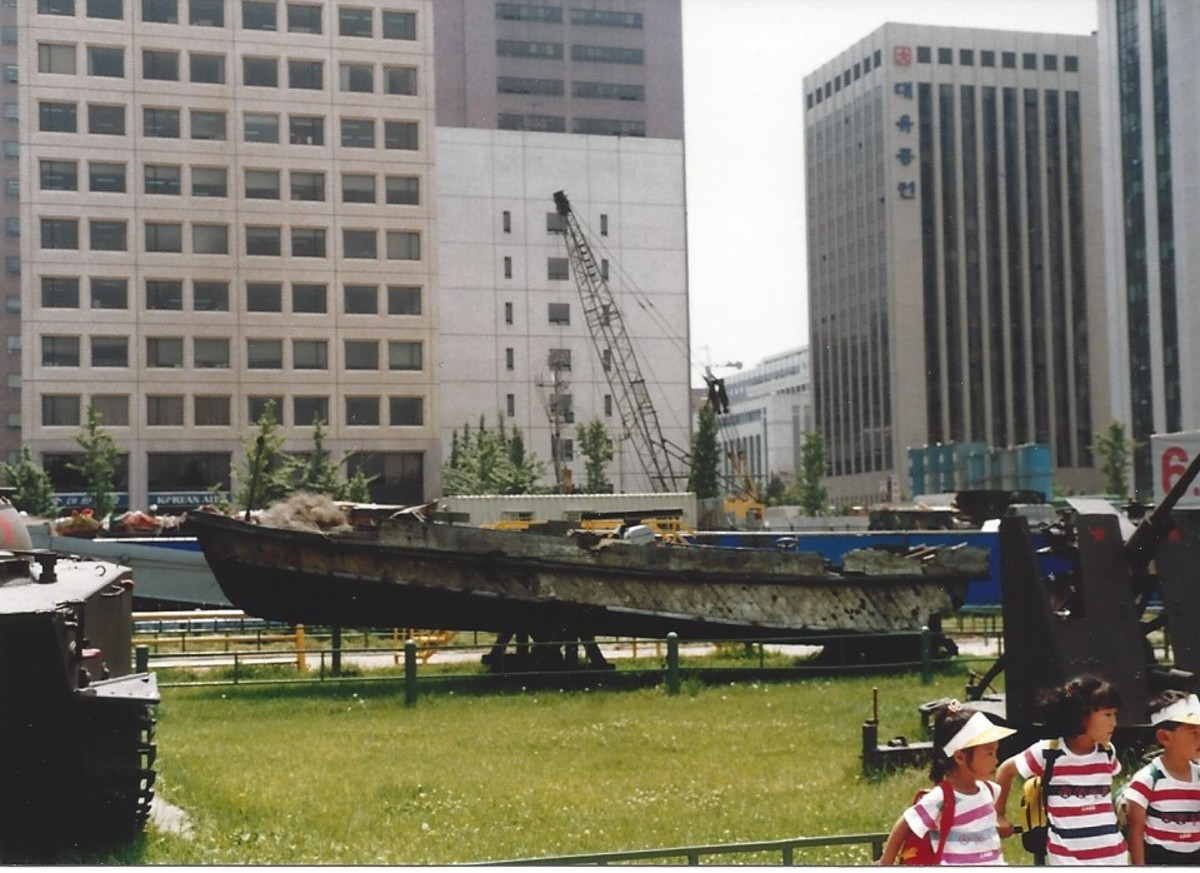 A North Korean speed boat at the Korean War Museum, 1991.  In 1986 a ROK patrol boat captured this boat in South Korean waters.  It was taken to Panmunjom as part of the protest of the truce violation.