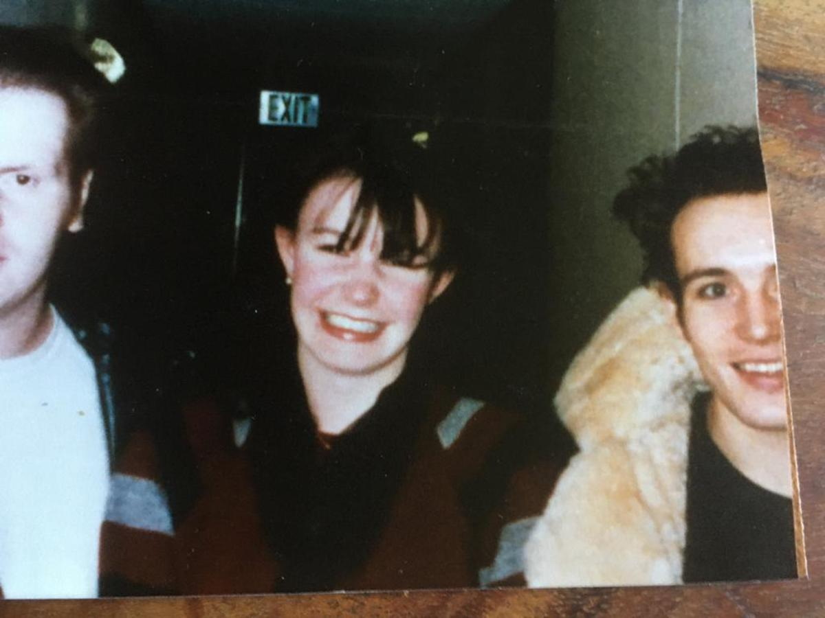 Adam Ant and my very happy sister.