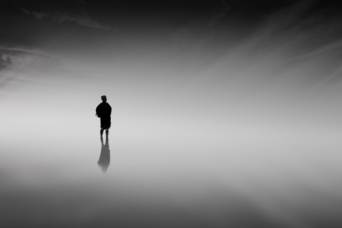 Man in the cool mist