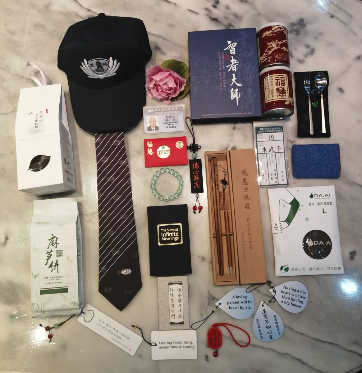 A paraphernalia of gifts from the Master and Tzu Chi Foundation.