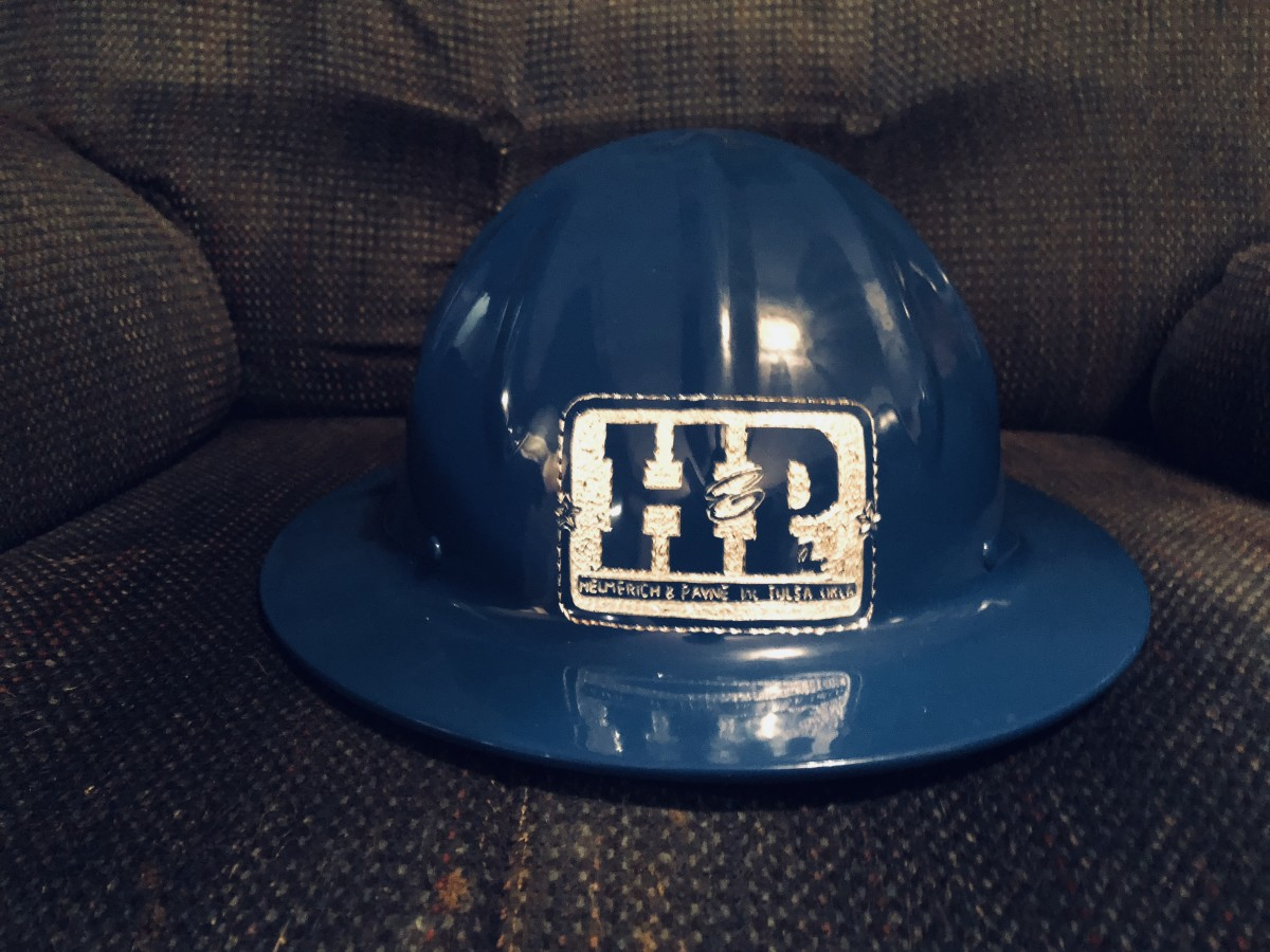 A Blue Powder Coated HP drilling Logo Hat All Colors Are Available