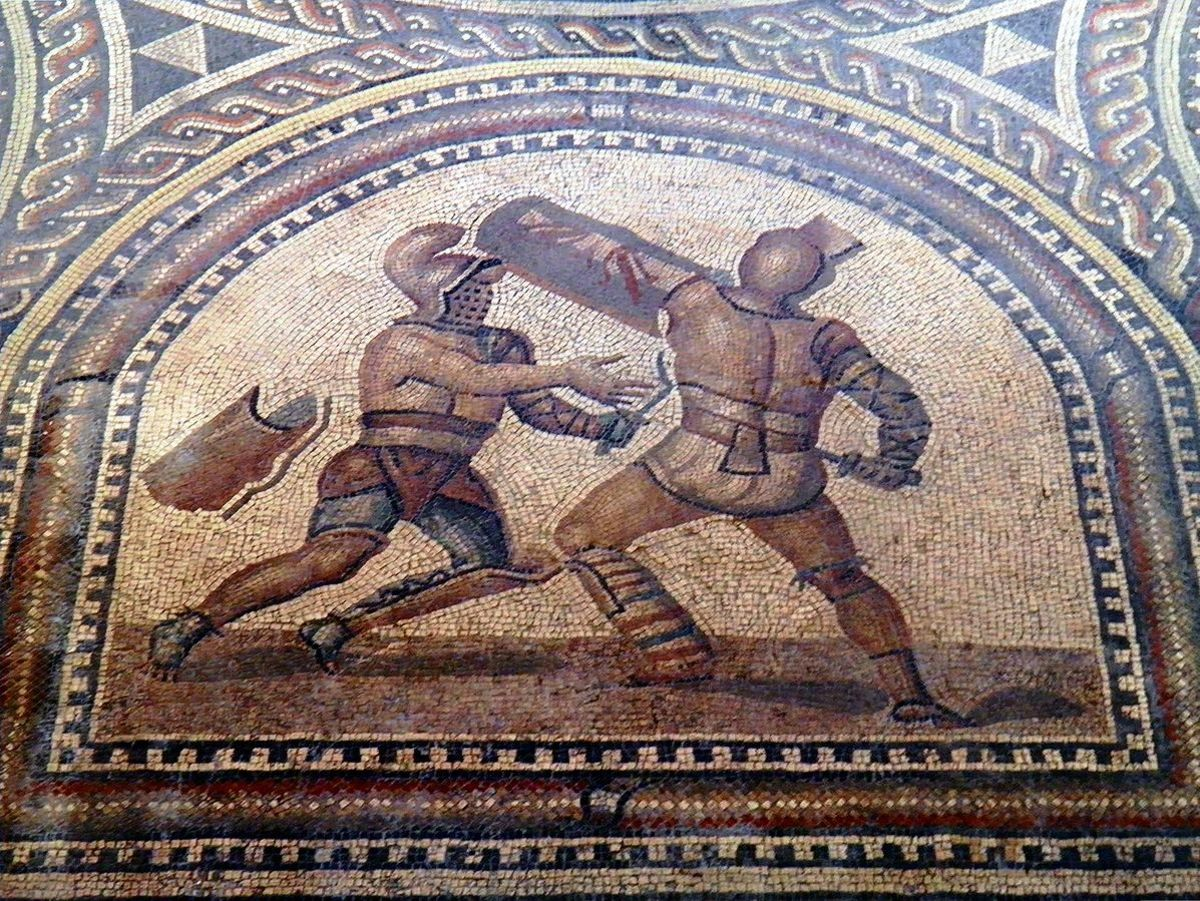 Details of Gladiator Mosaic. A Thraex  (left) fighting a Murmillo (right). Romerhalle, Bad Kreuznach, Germany.