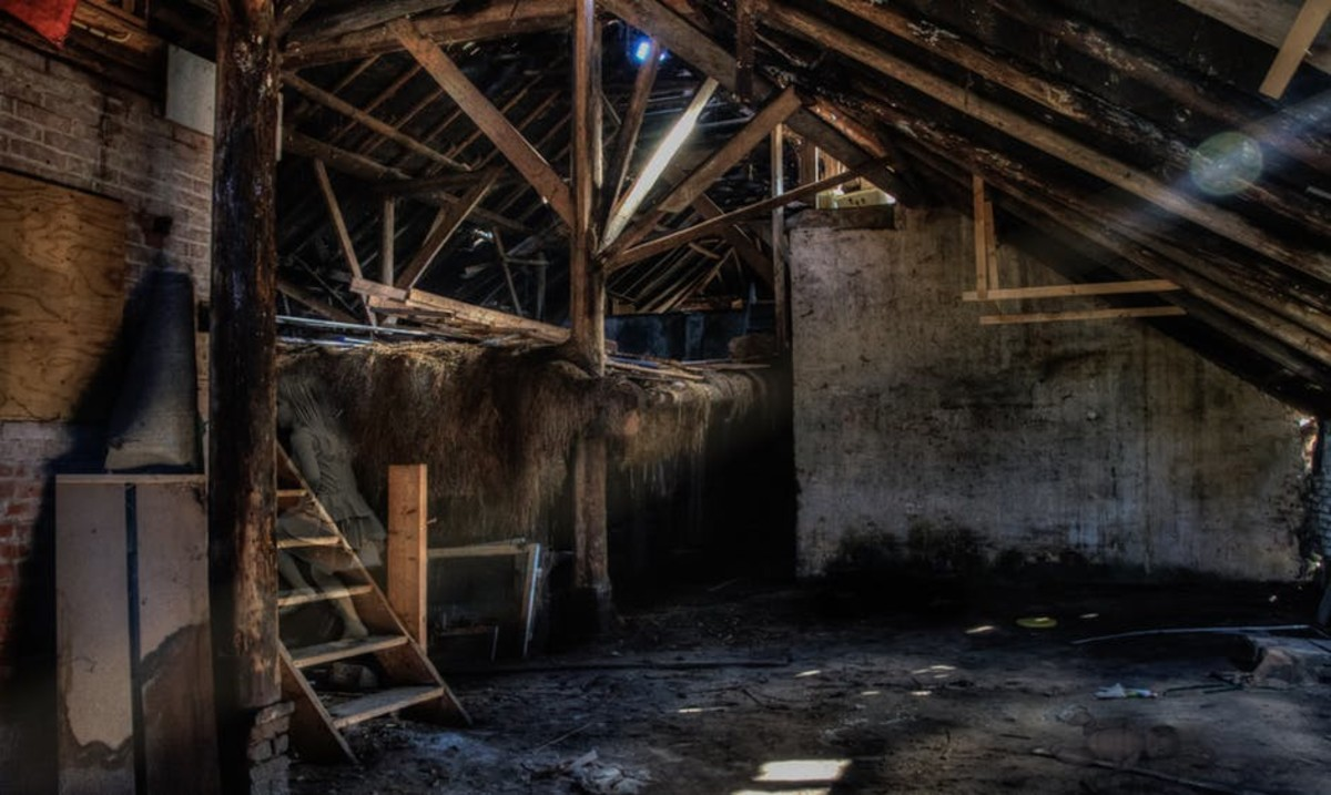 This is the inside of a barn loft.