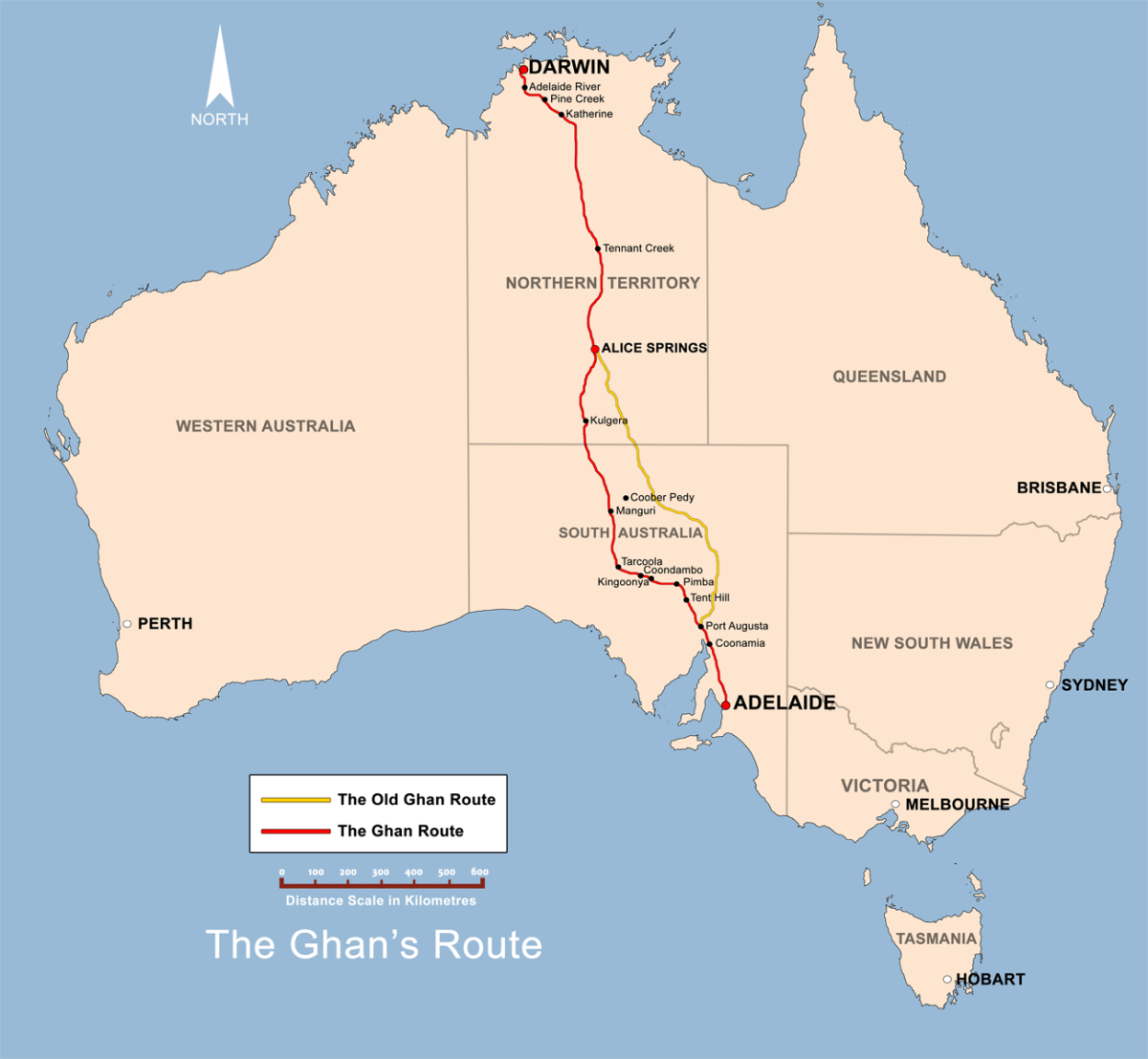 Route of The Ghan