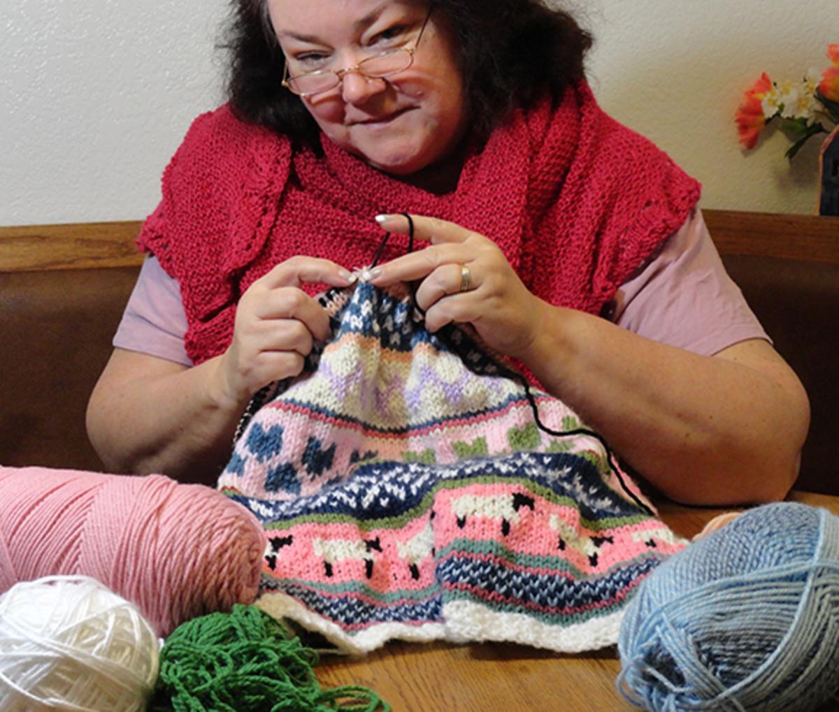 Me knitting.