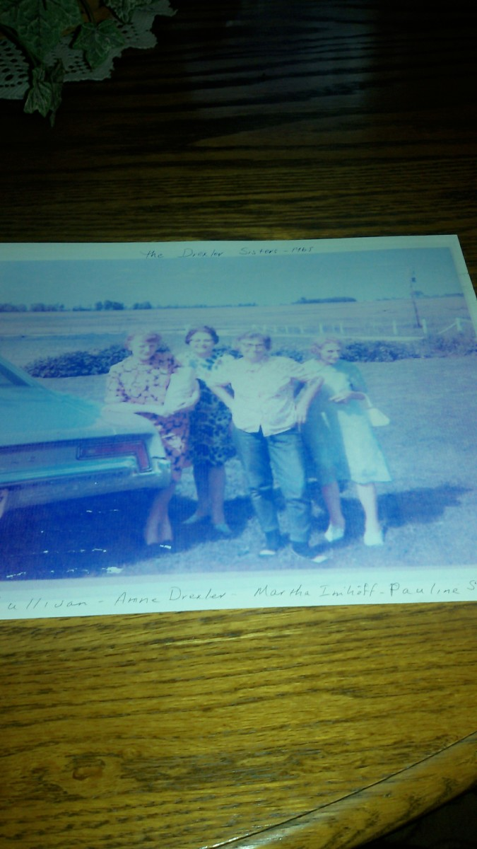 Little grandma's four daughters.  From left to right:  great-aunt Mary, great-aunt Annie, great aunt Martha, and grandma.  Picture taken in 1965