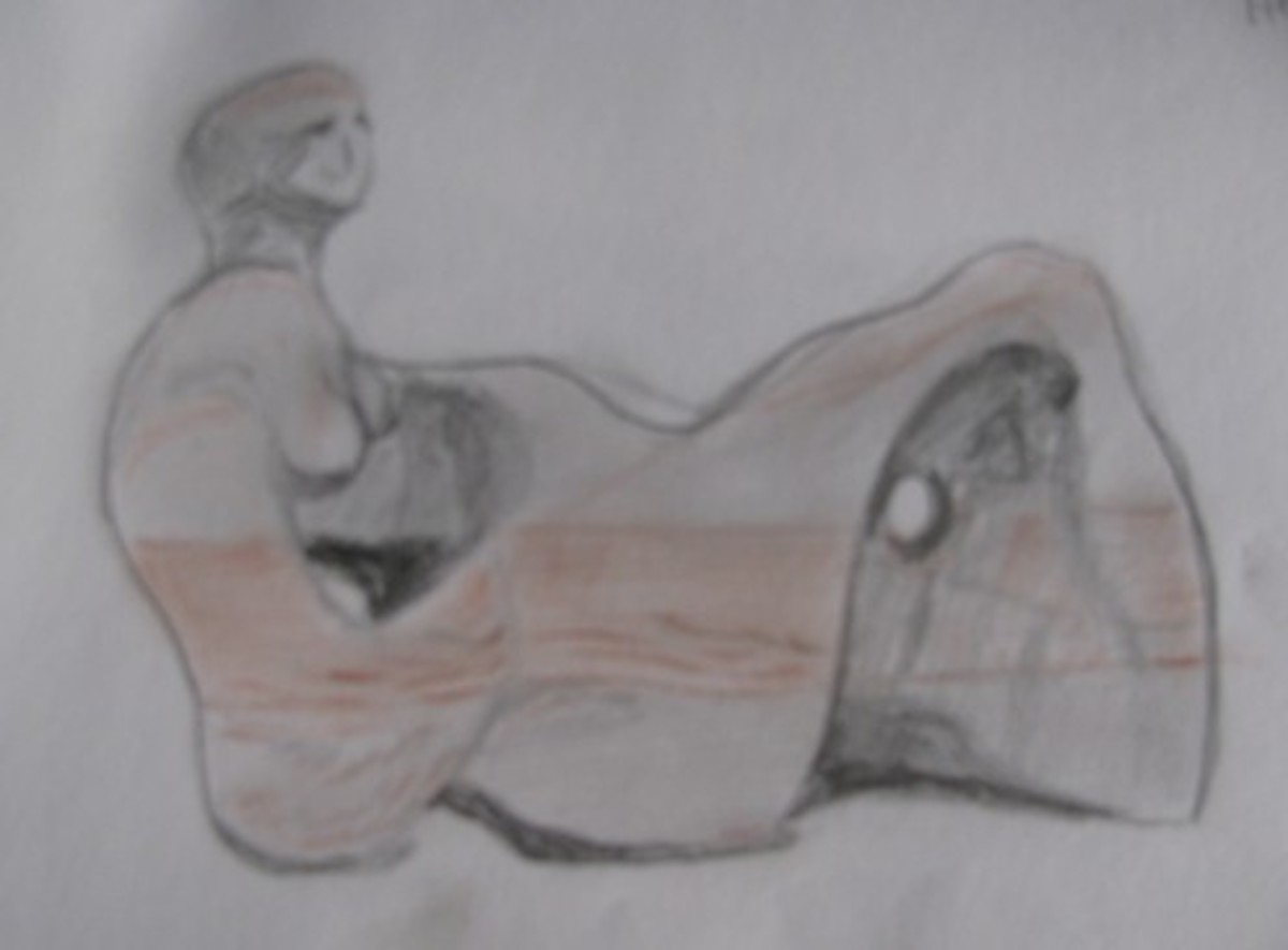 My sketch of Moore's 'Recumbent Figure' in the 'Tate Britain' Art Gallery, London