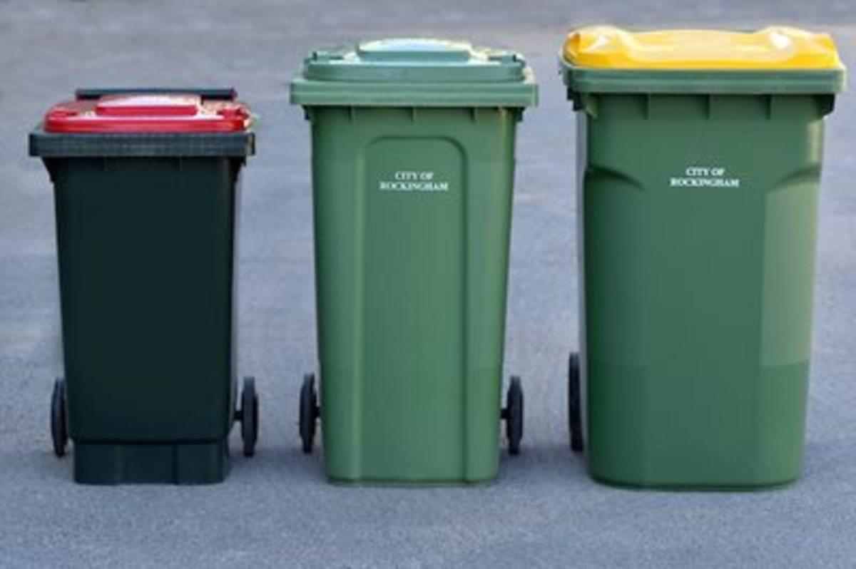 Rubbish bin, recycle bin and green waste bin