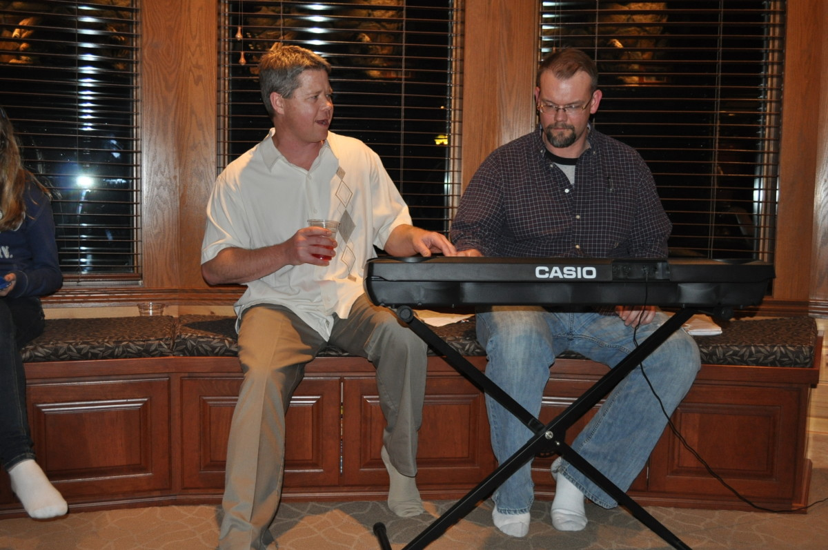 This was taken at Shane's going away party and was the last time I saw him.  He totally wrecked the song I was trying to play.
