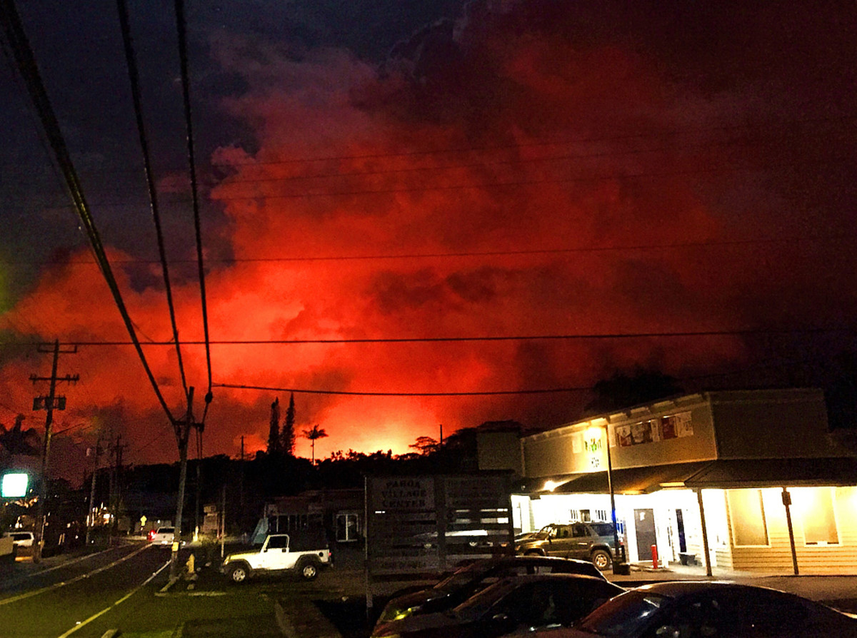 Pahoa village at night looking toward Fissure 8 about 3 miles away. (Photo taken by author)