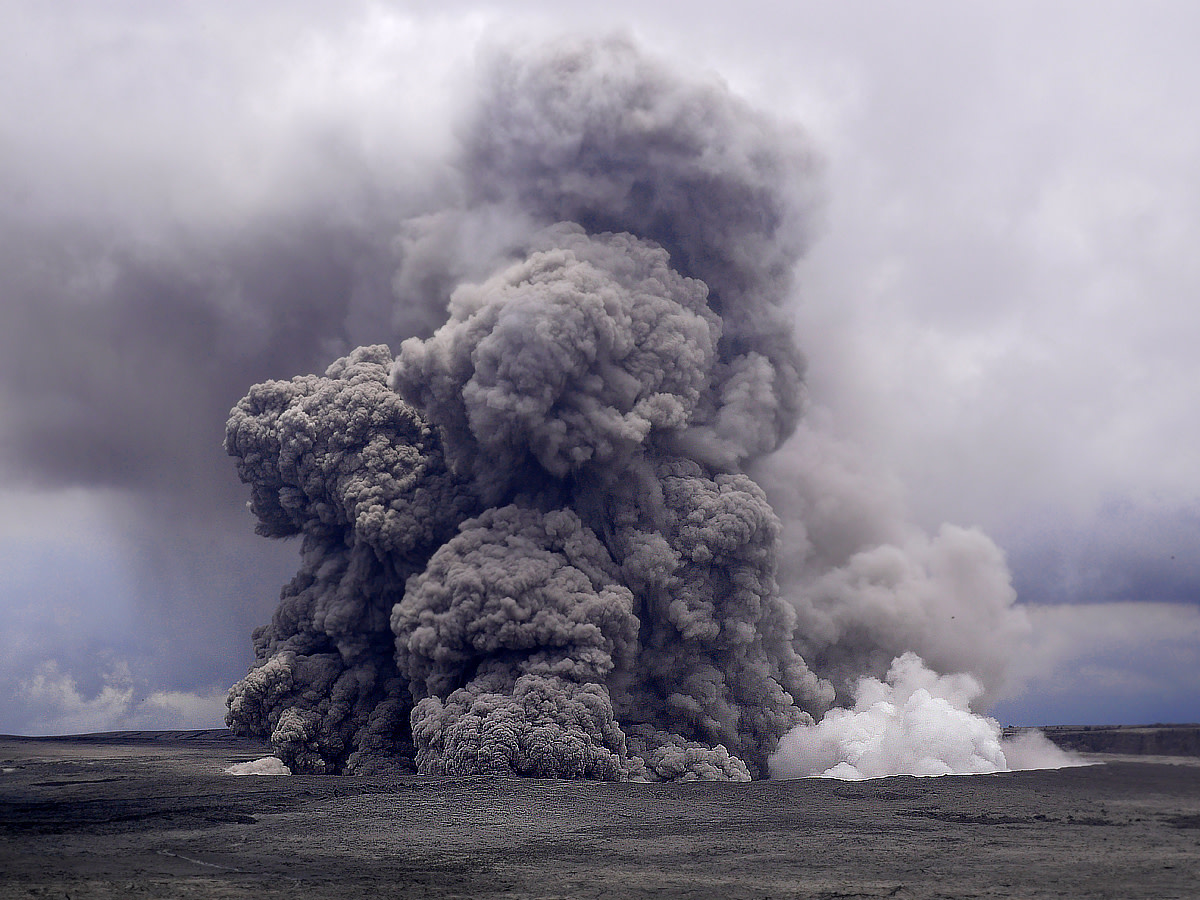 Ash plume rises into the sky at Halemaumau crater. (Photo courtesy of USGS-HVO)