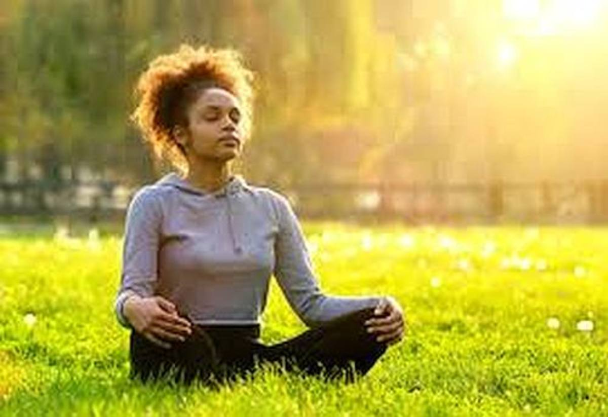 Woman is meditating.