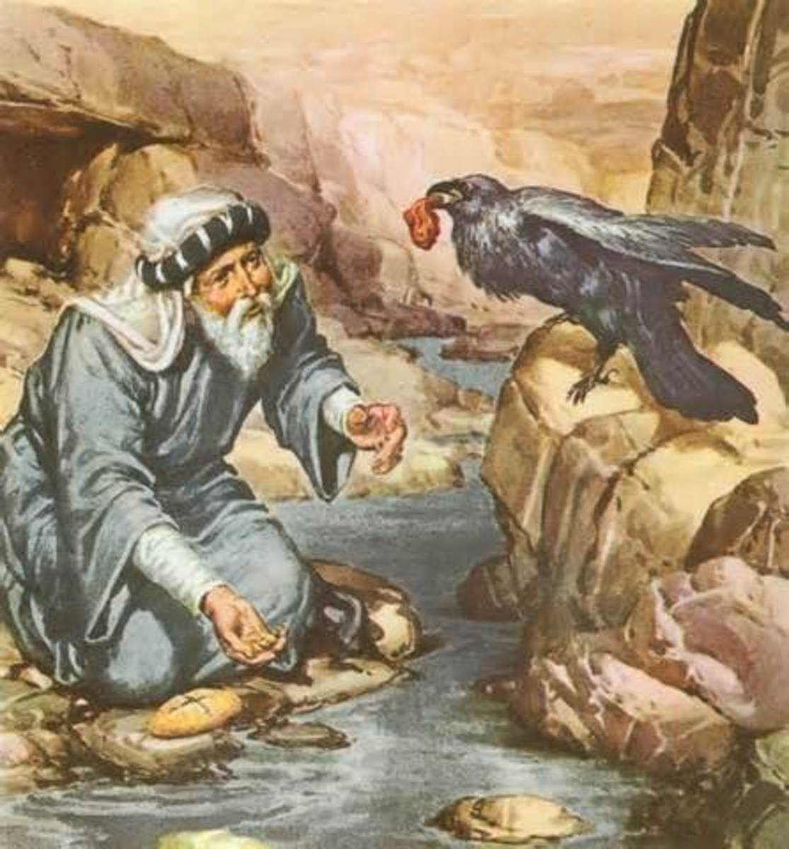 Raven feed Elijah by the brook