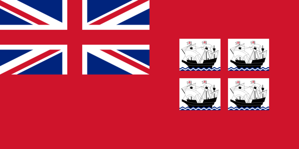 Ensign of Trinity House is a British Red Ensign defaced with the shield of the coat of arms (a St George's Cross with a sailing ship in each quarter)