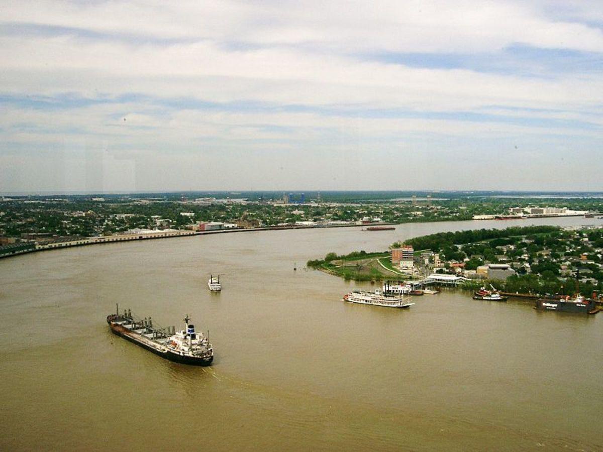 Lower Mississippi River near New Orleans.
