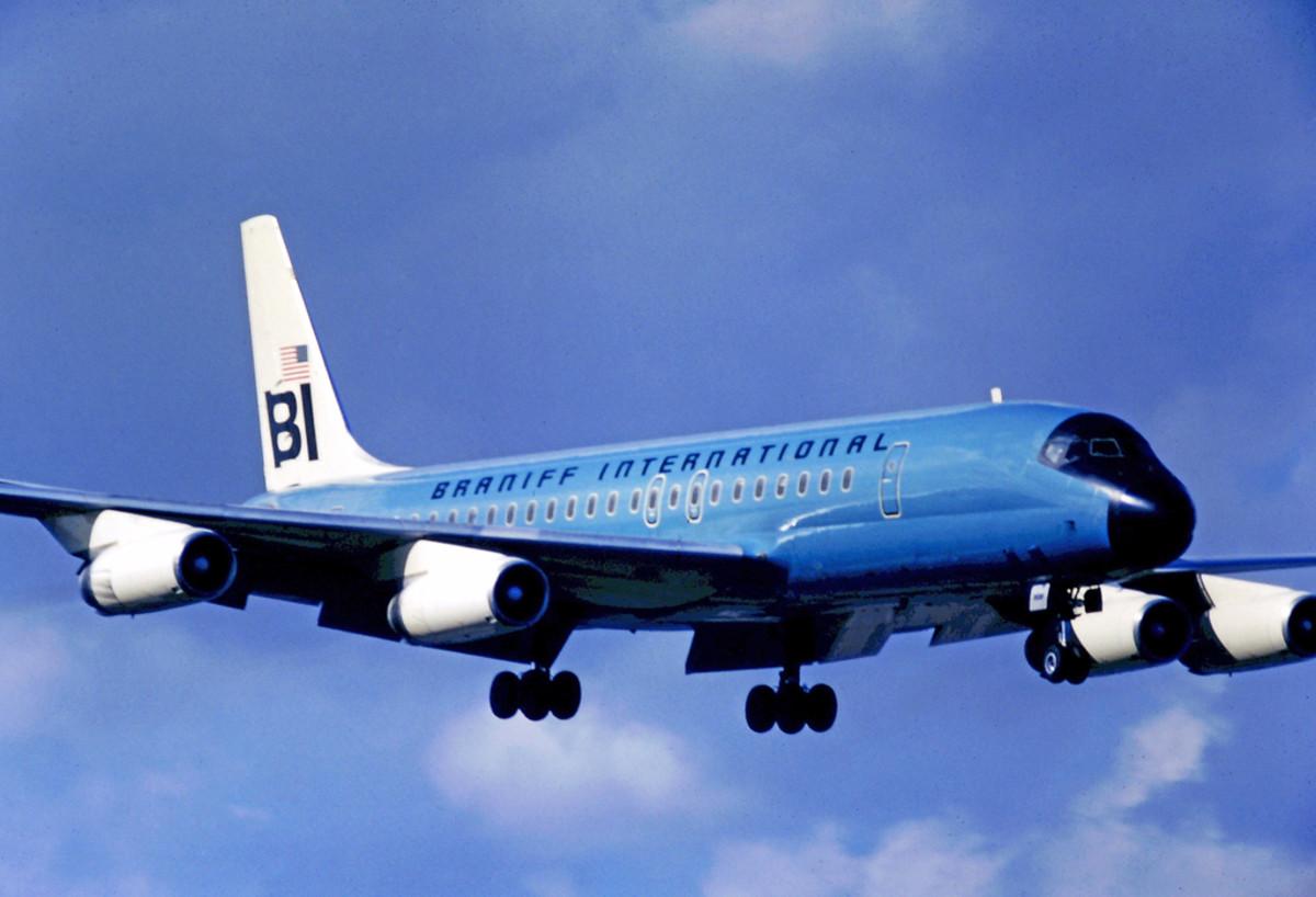 Braniff International Airways DC-8 Landing at Miami International Airport in 1971