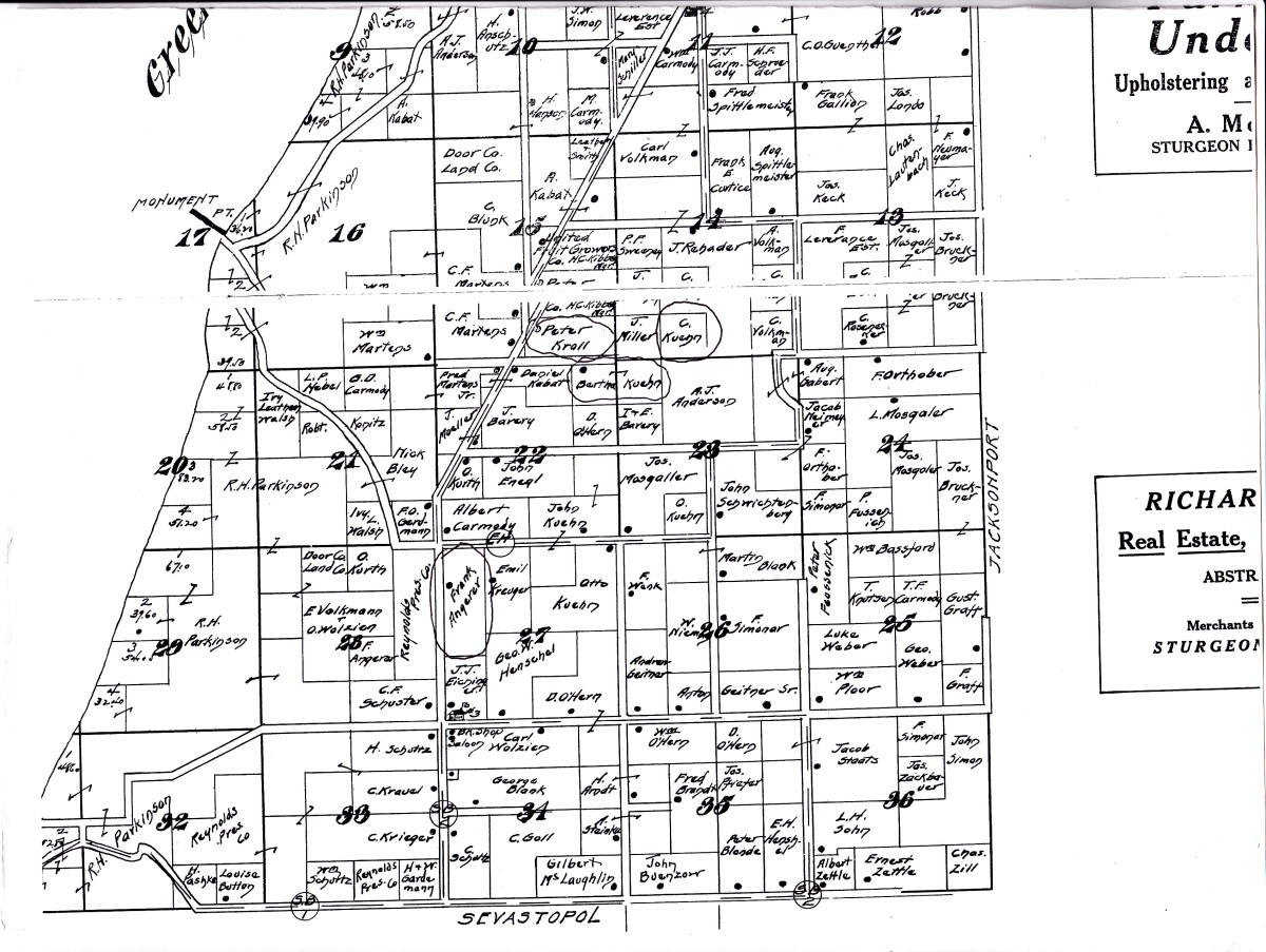 Record of land plots in Township of Egg Harbor, Door County around 1915