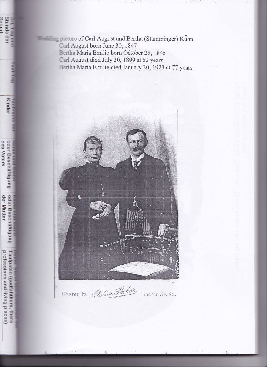 Carl and Bertha Kuehn, the father and mother of my grandfather