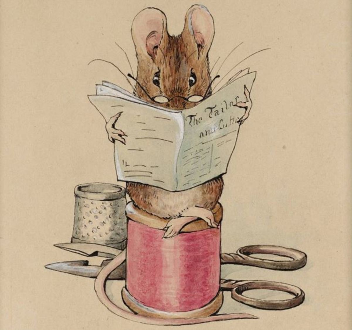 "Frontispiece of Beatrix Potter's ""The Tailor Mouse"" circa 1902"