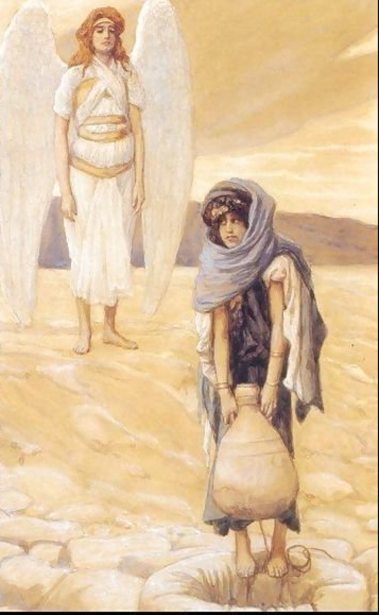 Hagar getting water from well in the desert