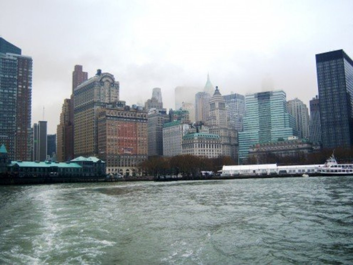 A view of the skyline of Lower Manhattan while en route to where my family first immigrated to the United States at Ferris Island, New York City. Image taken on a foggy morning in New York City.