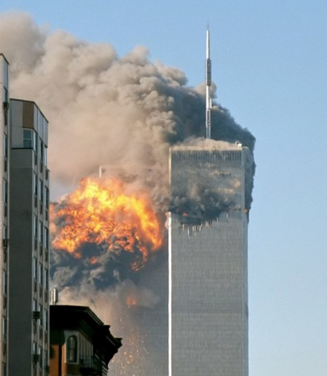 The northeast face of Two World Trade Center (south tower) after being struck by plane in the south face.